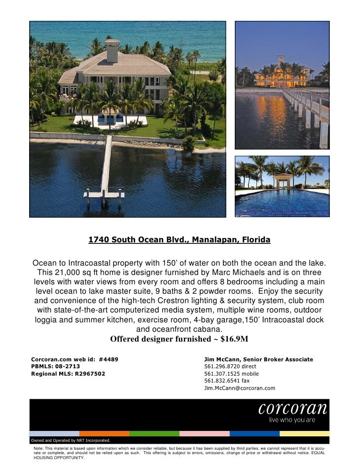 1740 South Ocean Blvd., Manalapan, Florida  Ocean to Intracoastal property with 150' of water on both the ocean and the la...