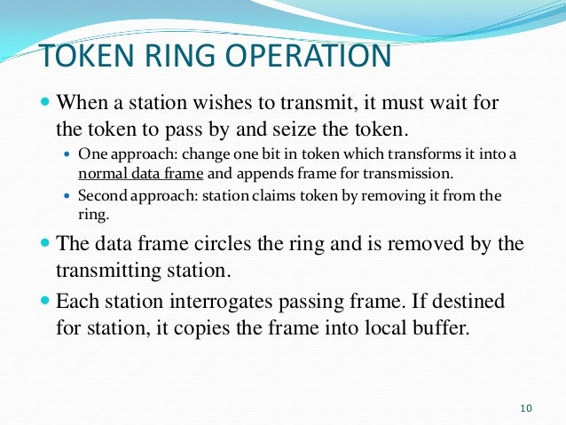 TOKEN RING OPERATION  When a station wishes to transmit, it must wait for the token to pass by and seize the token.  One...