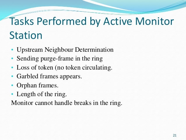 Tasks Performed by Active Monitor Station • • • • • •  Upstream Neighbour Determination Sending purge-frame in the ring Lo...