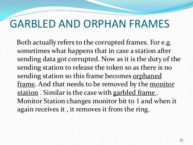 GARBLED AND ORPHAN FRAMES Both actually refers to the corrupted frames. For e.g. sometimes what happens that in case a sta...