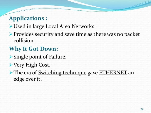 Applications :  Used in large Local Area Networks.  Provides security and save time as there was no packet  collision.  ...