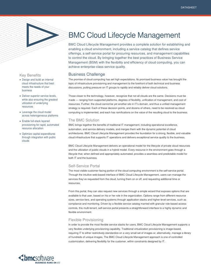 DATASHEET                                           BMC Cloud Lifecycle Management                                       B...