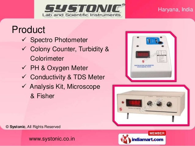 Haryana, India   Product         Spectro Photometer         Colony Counter, Turbidity &          Colorimeter         PH...