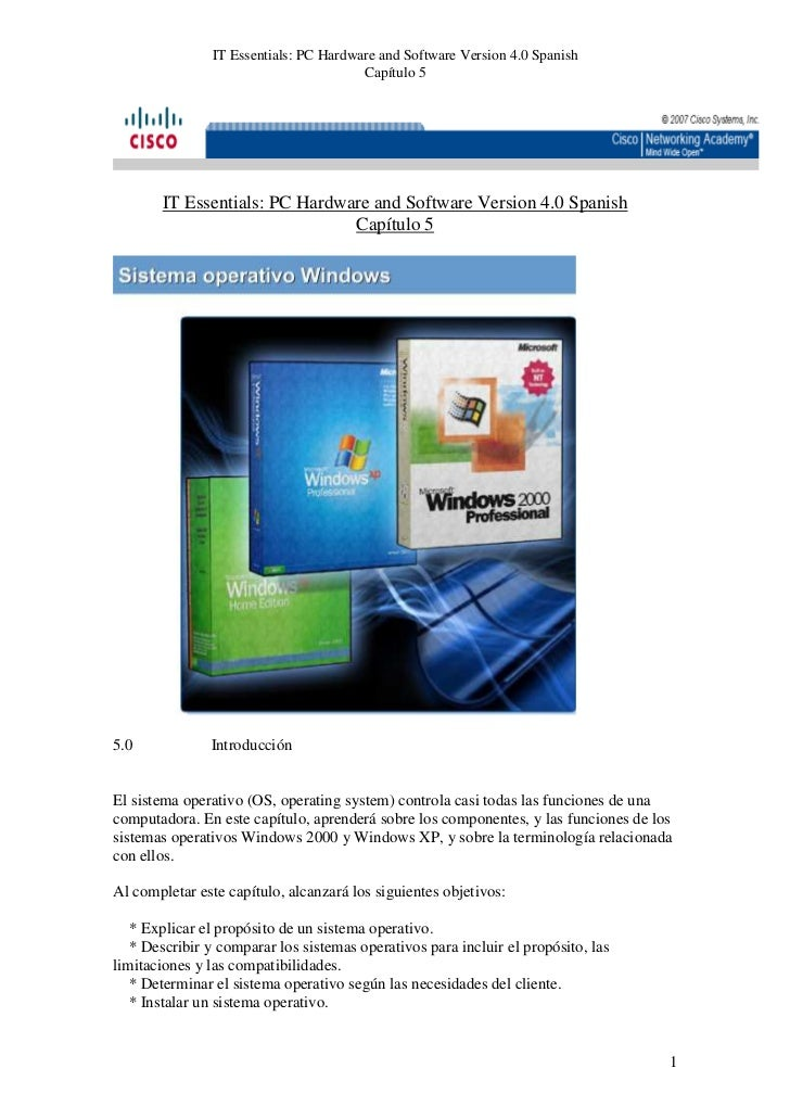 IT Essentials: PC Hardware and Software Version 4.0 Spanish                                        Capítulo 5       IT Ess...