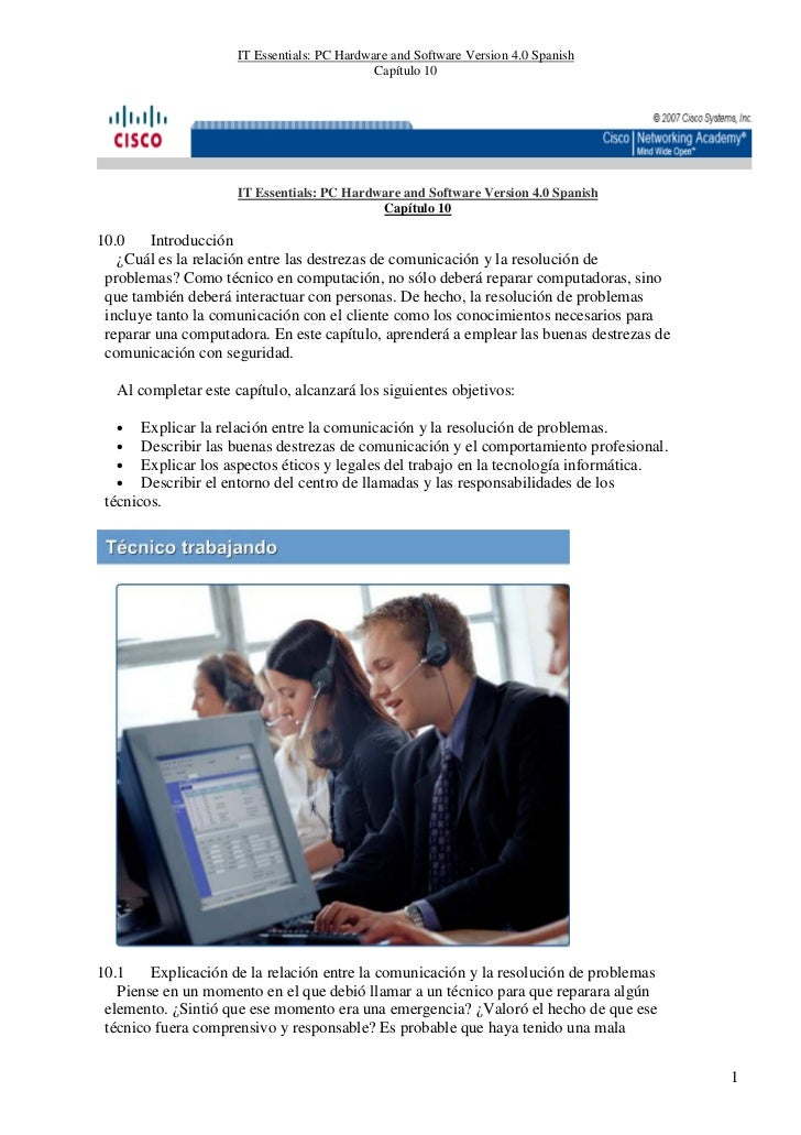 IT Essentials: PC Hardware and Software Version 4.0 Spanish                                              Capítulo 10      ...