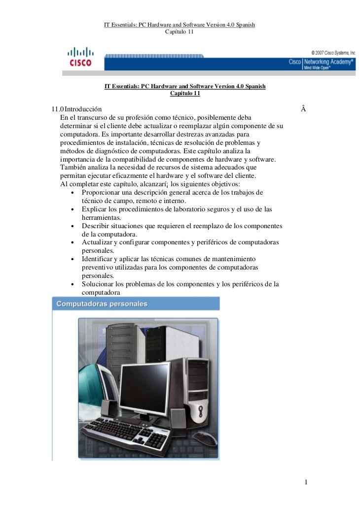 IT Essentials: PC Hardware and Software Version 4.0 Spanish                                         Capítulo 11           ...
