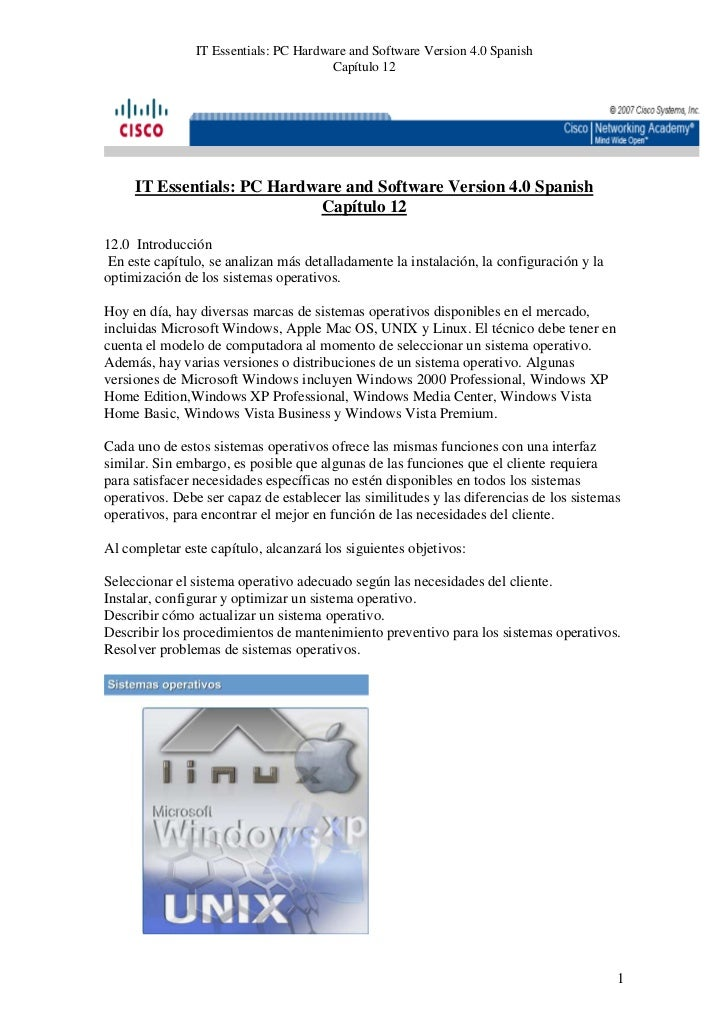 IT Essentials: PC Hardware and Software Version 4.0 Spanish                                       Capítulo 12     IT Essen...