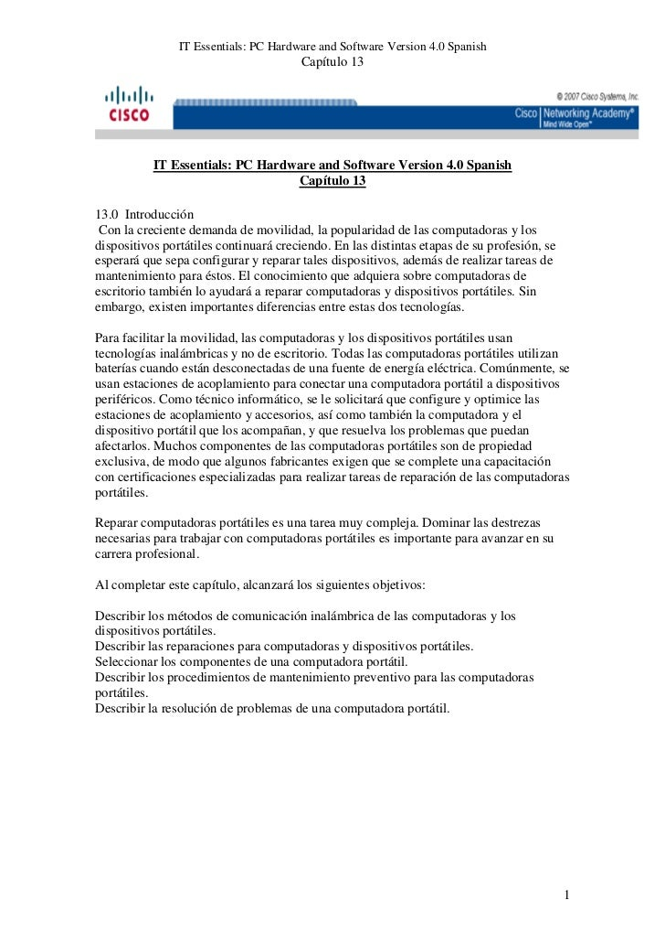 IT Essentials: PC Hardware and Software Version 4.0 Spanish                                       Capítulo 13           IT...