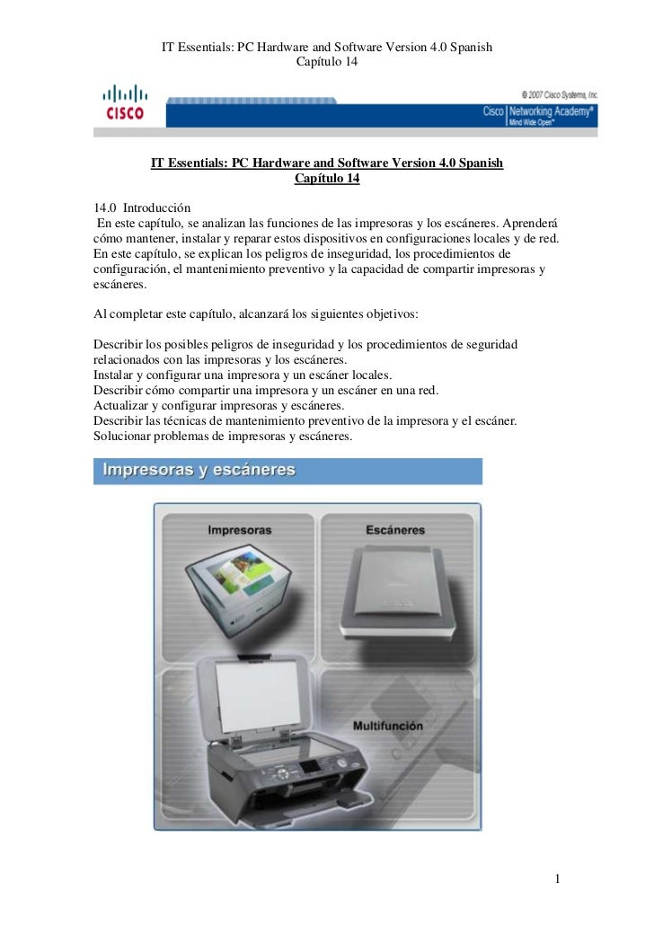 IT Essentials: PC Hardware and Software Version 4.0 Spanish                                     Capítulo 14           IT E...