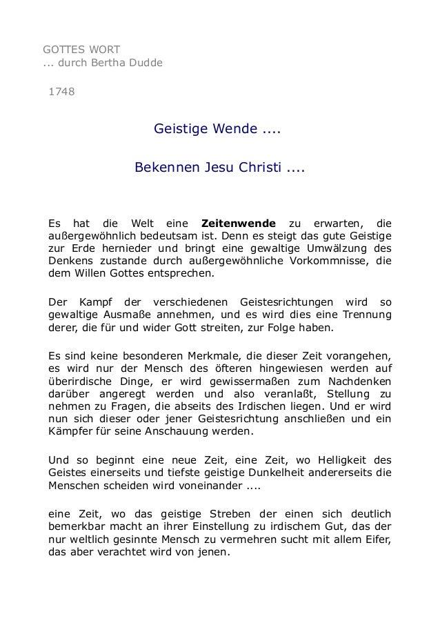 GOTTES WORT ... durch Bertha Dudde 1748  Geistige Wende .... Bekennen Jesu Christi ....  Es hat die Welt eine Zeitenwende ...