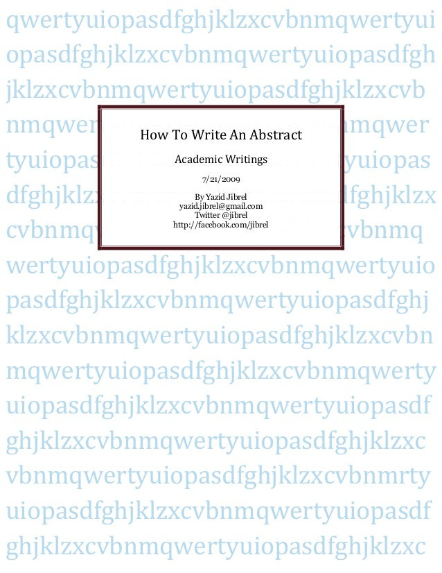 how to write a expoeriment abstract