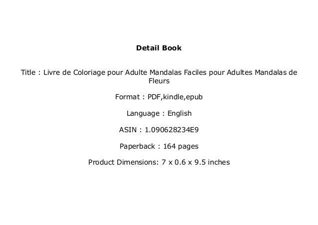 Epub Livre De Coloriage Pour Adulte Mandalas Faciles Pour Adultes M