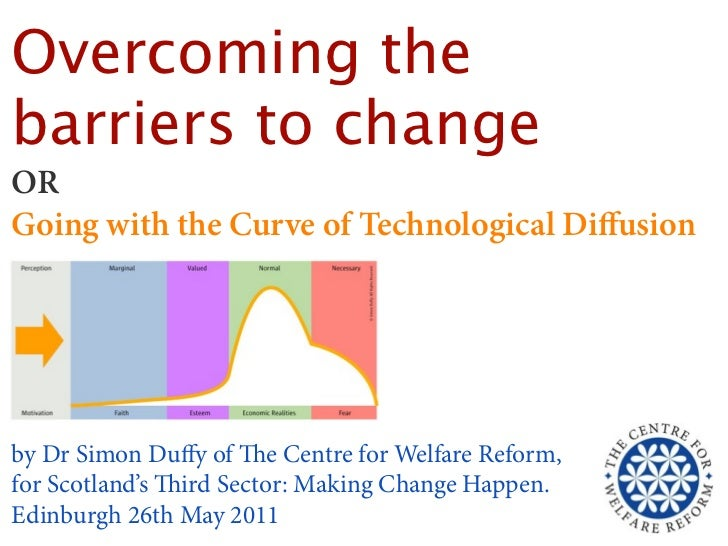 Overcoming thebarriers to changeORGoing with the Curve of Technological Diffusionby Dr Simon Duffy of e Centre for Welfare ...