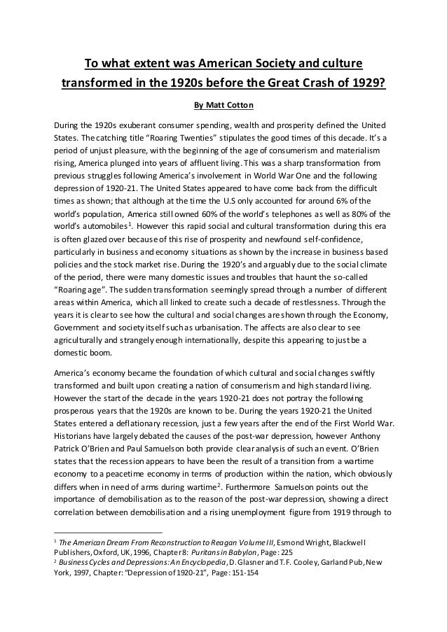 an analysis of american society in the 1920s View this student essay about roaring twenties toggle this student essay consists of approximately 6 pages of analysis of changes in american society 1920's.