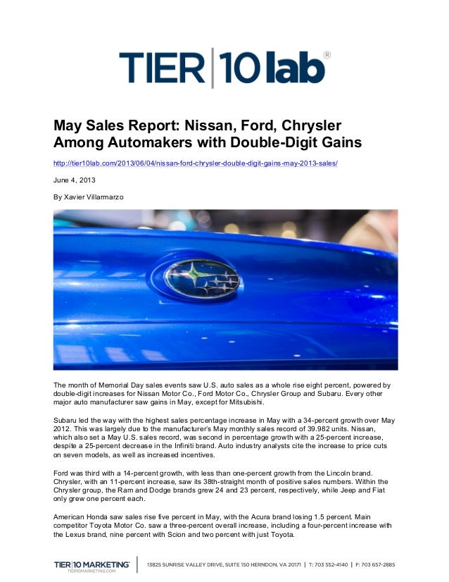 May Sales Report: Nissan, Ford, Chrysler Among Automakers with Double-Digit Gains http://tier10lab.com/2013/06/04/nissan...