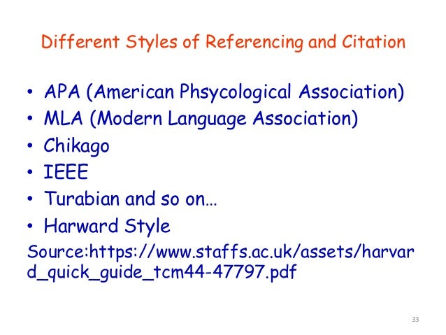 • APA (American Phsycological Association) • MLA (Modern Language Association) • Chikago • IEEE • Turabian and so on… • Ha...
