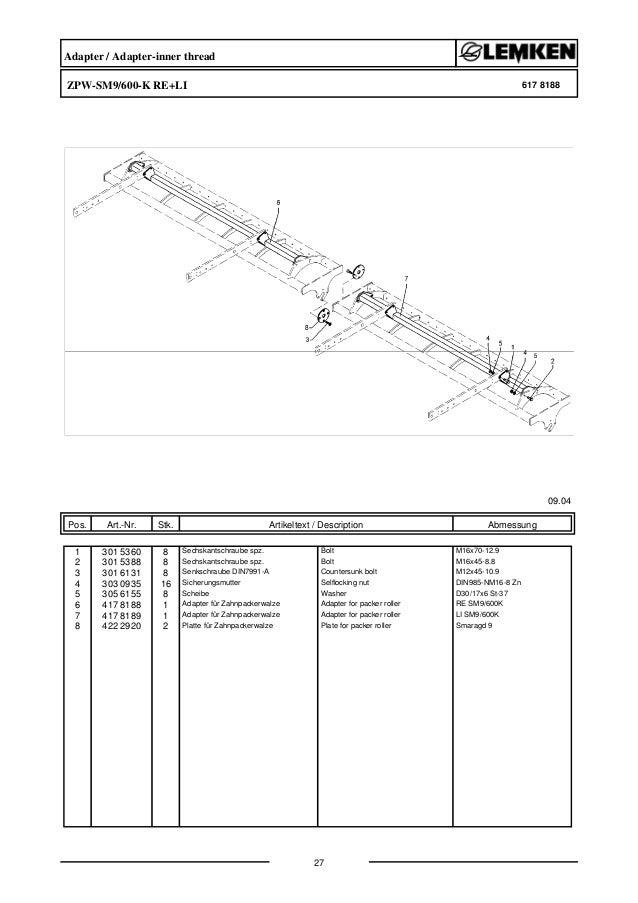 Lemken smaragd 9/600K parts catalog