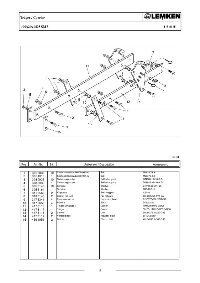 Lemken smaragd 7-300 parts catalog