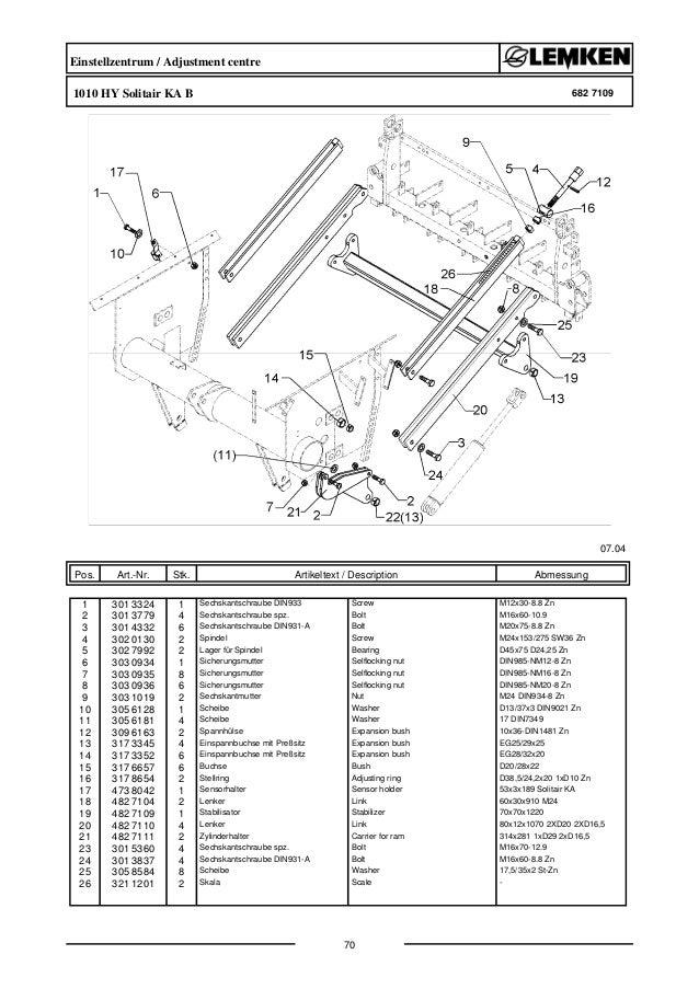 Lemken solitair 9-600 KA parts catalog