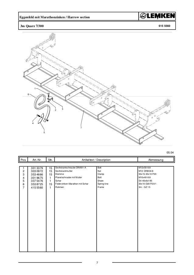 Lemken quarz 7/300 parts catalog