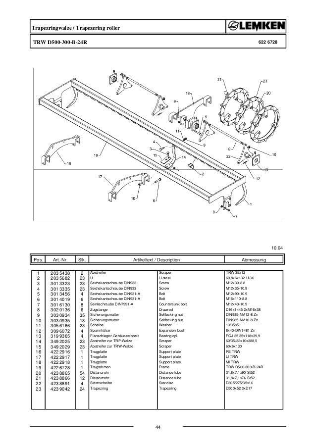 Lemken zirkon10-600 KA parts catalog