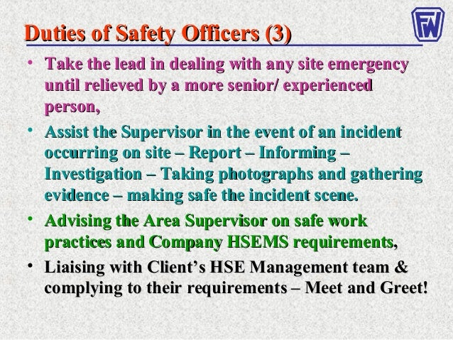 duties of a health safety officer Health and safety myths  occupational safety and health in construction competition 2016  what are the duties of a safety officer on a construction site.