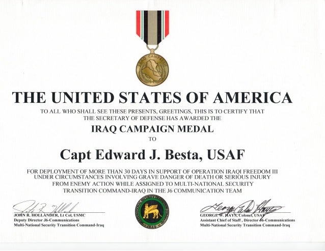 Iraq Campaign Medal OIF 2005