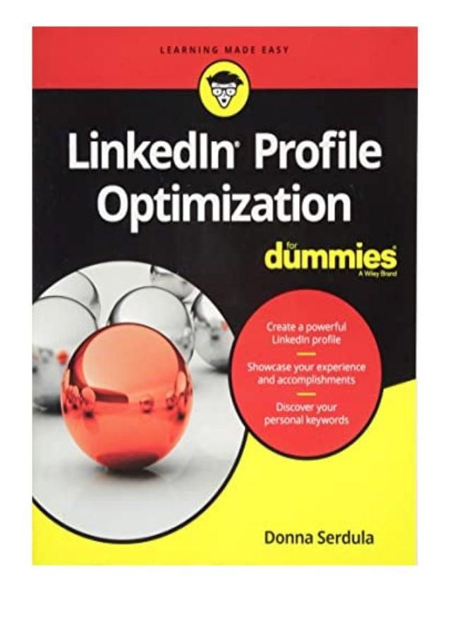 [PDF BOOK E-PUB Mobi] pdf_$ LinkedIn Profile Optimization FD For Dummies Career/Education review DOWNLOAD EBOOK PDF KINDLE...