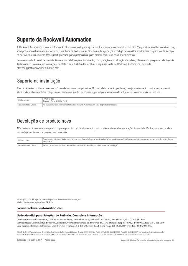 Publicação 1763-SG001A-PT-P — Agosto 2005 Copyright © 2005 Rockwell Automation, Inc. Todos os direitos reservados. Impress...