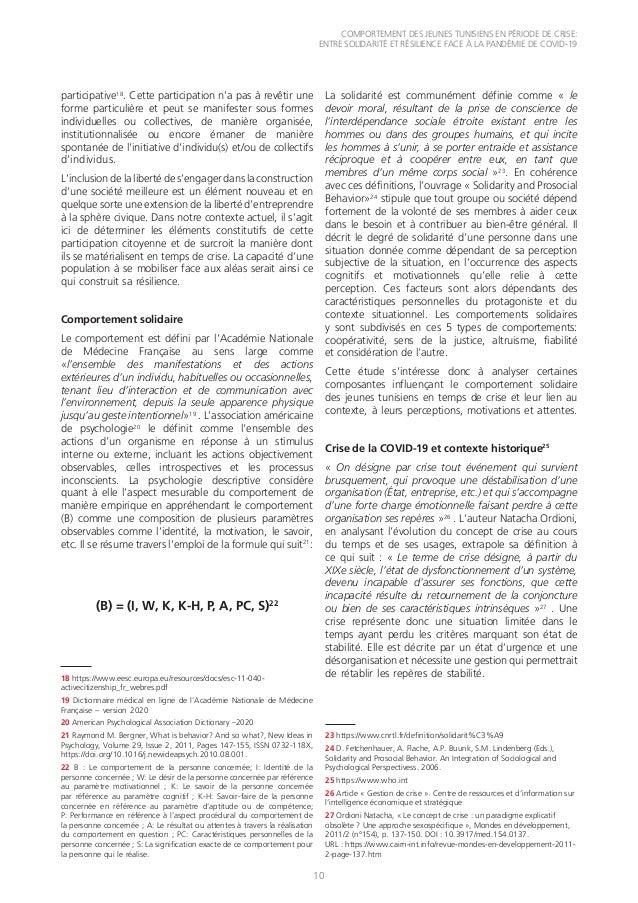 COMPORTEMENT DES JEUNES TUNISIENS EN PÉRIODE DE CRISE: ENTRE SOLIDARITÉ ET RÉSILIENCE FACE À LA PANDÉMIE DE COVID-19 10 pa...