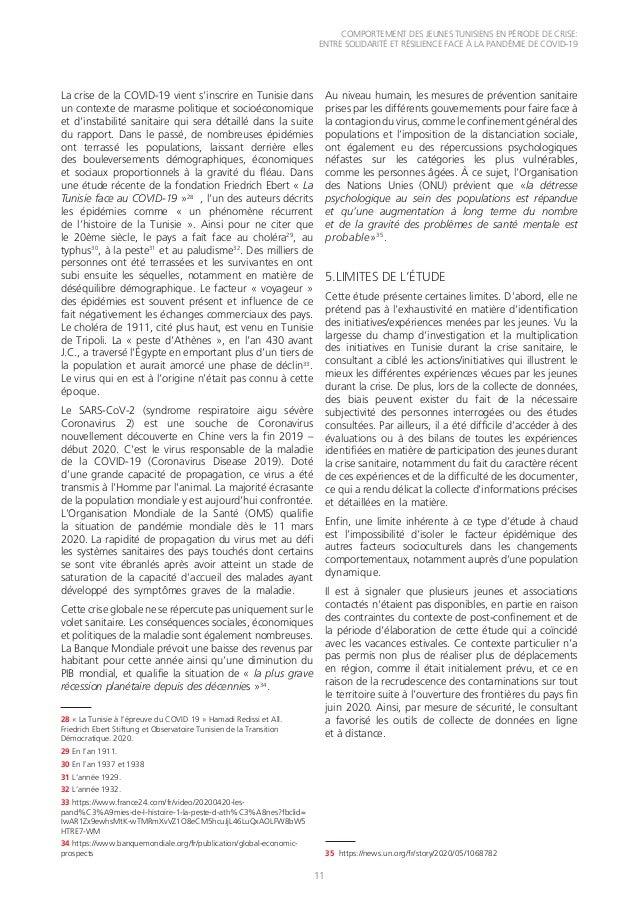 COMPORTEMENT DES JEUNES TUNISIENS EN PÉRIODE DE CRISE: ENTRE SOLIDARITÉ ET RÉSILIENCE FACE À LA PANDÉMIE DE COVID-19 11 La...