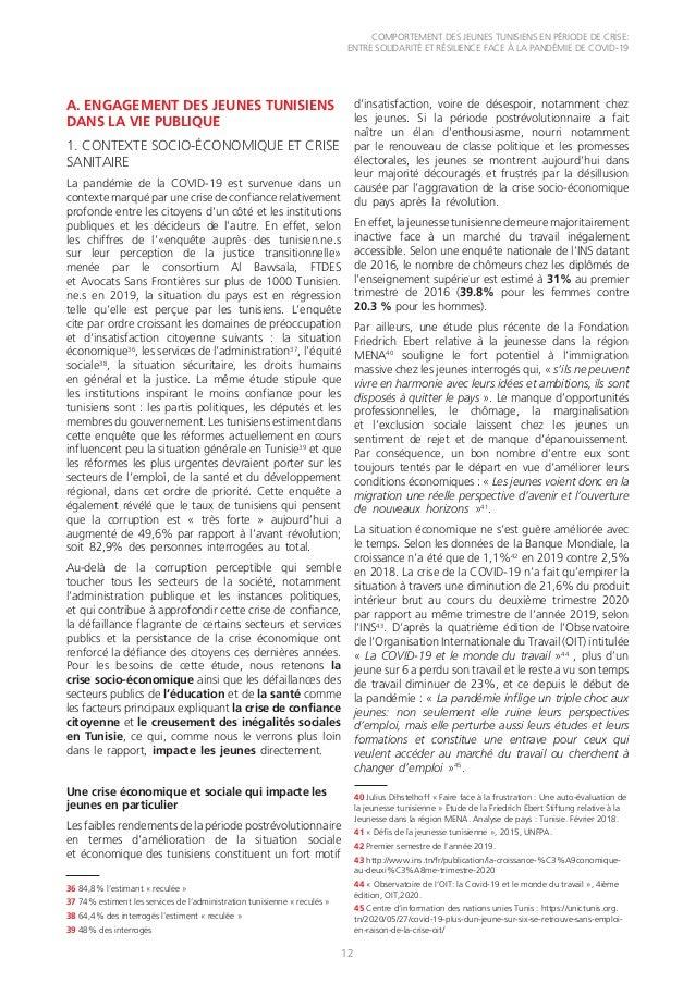 COMPORTEMENT DES JEUNES TUNISIENS EN PÉRIODE DE CRISE: ENTRE SOLIDARITÉ ET RÉSILIENCE FACE À LA PANDÉMIE DE COVID-19 12 A....