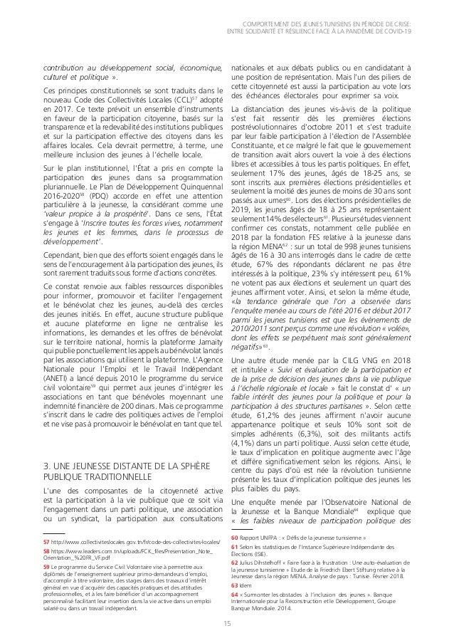 COMPORTEMENT DES JEUNES TUNISIENS EN PÉRIODE DE CRISE: ENTRE SOLIDARITÉ ET RÉSILIENCE FACE À LA PANDÉMIE DE COVID-19 15 57...