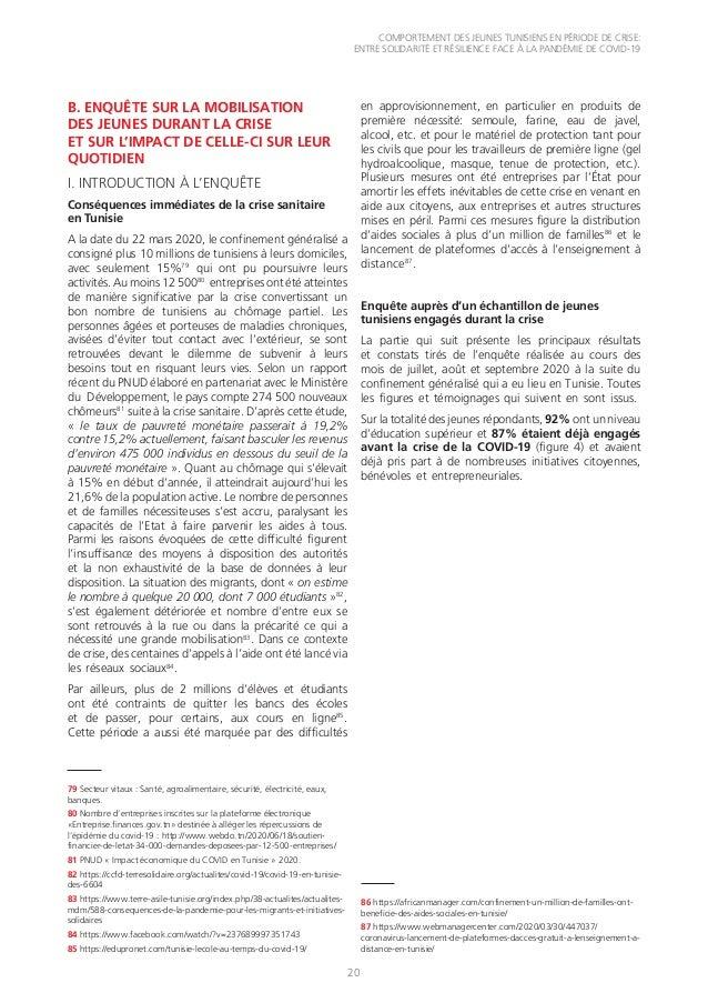 COMPORTEMENT DES JEUNES TUNISIENS EN PÉRIODE DE CRISE: ENTRE SOLIDARITÉ ET RÉSILIENCE FACE À LA PANDÉMIE DE COVID-19 20 B....