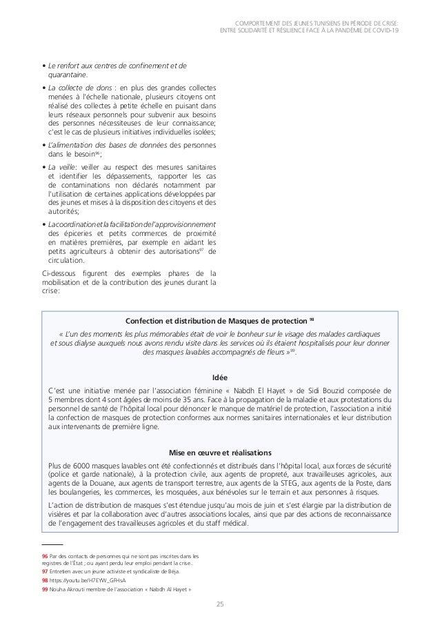 COMPORTEMENT DES JEUNES TUNISIENS EN PÉRIODE DE CRISE: ENTRE SOLIDARITÉ ET RÉSILIENCE FACE À LA PANDÉMIE DE COVID-19 25 •...