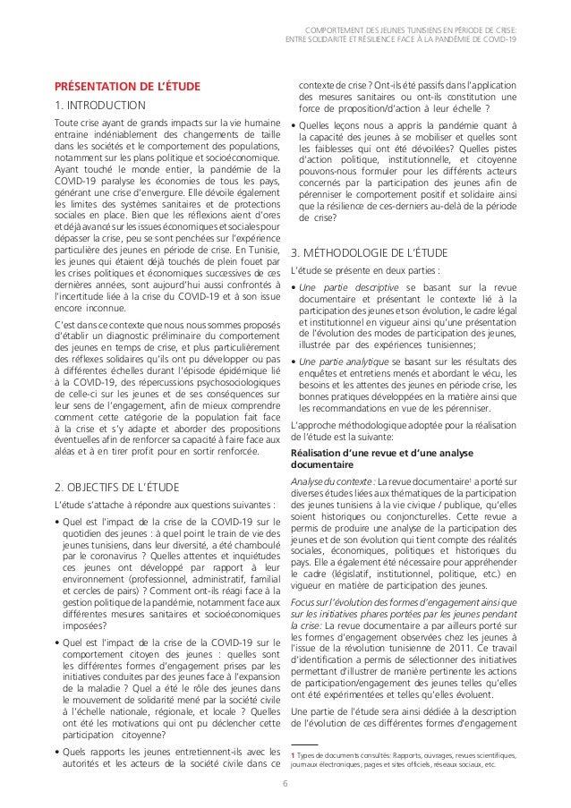 COMPORTEMENT DES JEUNES TUNISIENS EN PÉRIODE DE CRISE: ENTRE SOLIDARITÉ ET RÉSILIENCE FACE À LA PANDÉMIE DE COVID-19 6 PRÉ...
