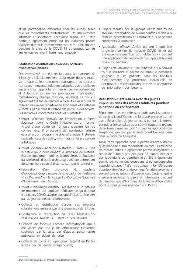 COMPORTEMENT DES JEUNES TUNISIENS EN PÉRIODE DE CRISE: ENTRE SOLIDARITÉ ET RÉSILIENCE FACE À LA PANDÉMIE DE COVID-19 7 et ...