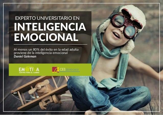 EXPERTO UNIVERSITARIO EN INTELIGENCIA EMOCIONAL Al menos un 80% del éxito en la edad adulta proviene de la inteligencia em...