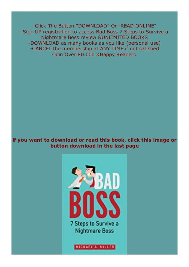 Pdf Downloads Bad Boss 7 Steps To Survive A Nightmare Boss Review O