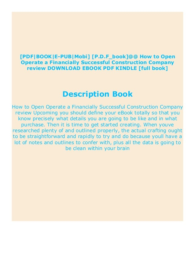 Ebooks How To Open Operate A Financially Successful Construction Com