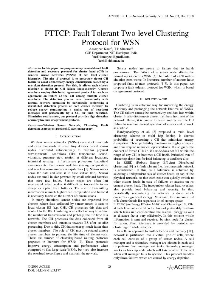 ACEEE Int. J. on Network Security, Vol. 01, No. 03, Dec 2010            FTTCP: Fault Tolerant Two-level Clustering        ...