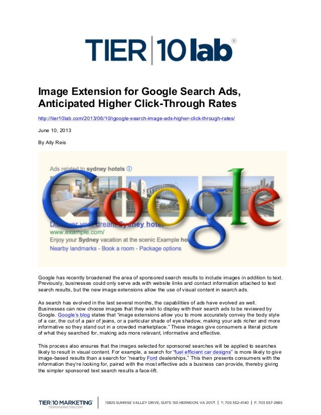 Image Extension for Google Search Ads, Anticipated Higher Click-Through Rates http://tier10lab.com/2013/06/10/igoogle-se...