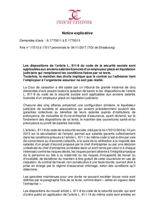 Notice explicative Demandes d'avis : A 1770011 à E 1770015 Avis n° 17013 à 17017 prononcés le 06/11/2017 (TGI de Strasbour...