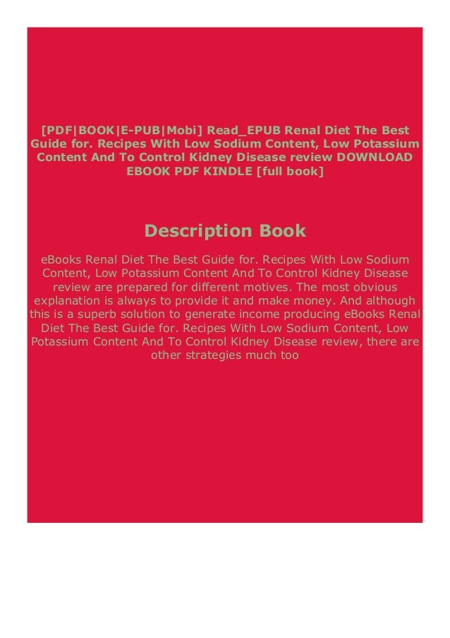 Pdf Downloads Renal Diet The Best Guide For Recipes With Low Sodium