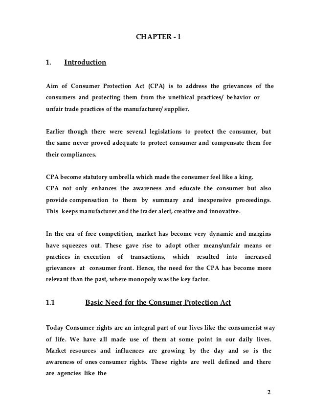 consumer protection act  3 chapter 11 introductionaim of consumer protection
