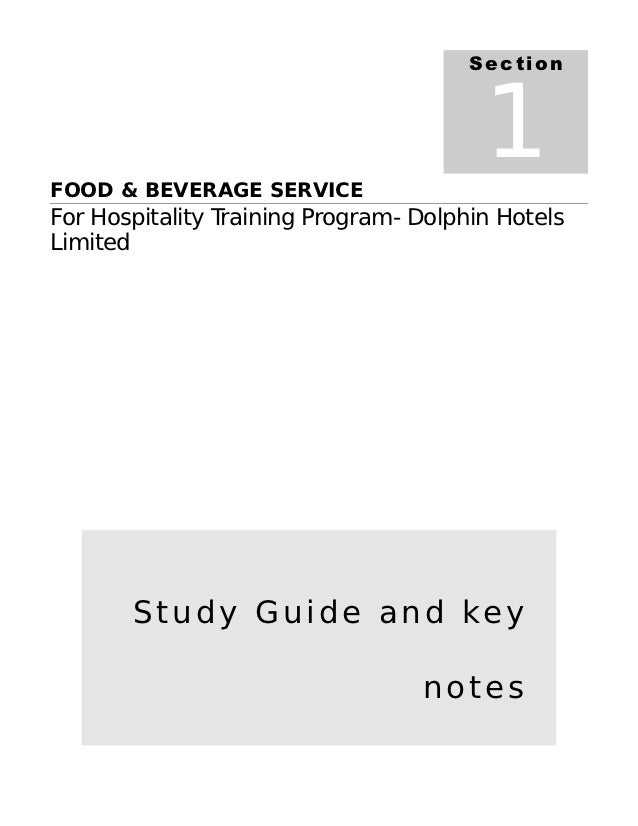 SectionFOOD & BEVERAGE SERVICE                                        1For Hospitality Training Program- Dolphin HotelsLim...