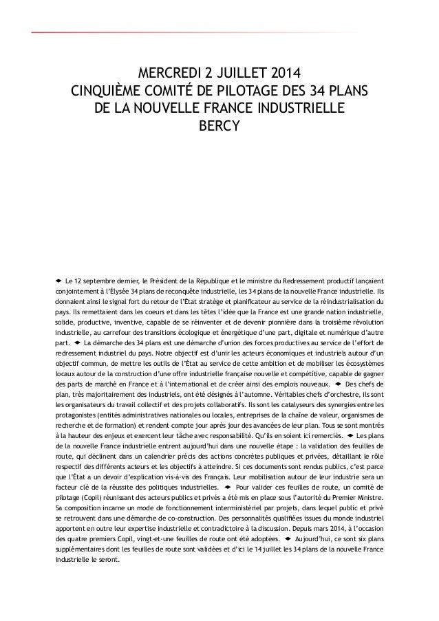 5e rapport d'étape 34 plans nouvelle france industrielle Slide 3