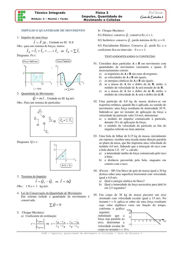Técnico Integrado                               Física 3                                    Prof. Viriato                 ...