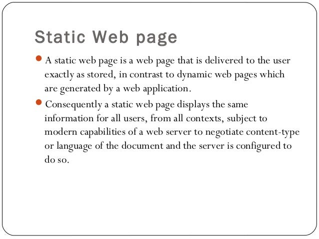 static web page
