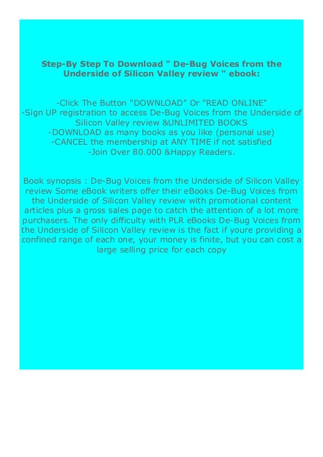 [PDF BOOK E-PUB Mobi] epub$@@ De-Bug Voices from the Underside of Silicon Valley review DOWNLOAD EBOOK PDF KINDLE [full bo...